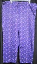 XL Scrub Bottoms Pants Purple Hearts Drawstring Waist