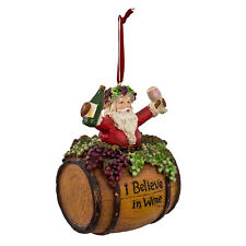Kurt Adler Santa Claus Wine Barrel Tuscan Christmas Tree Ornament Decor Gift
