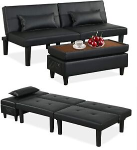 Futon Sofa Bed Couch Sleeper Convertible Foldable w/ Storage Ottoman/Pillows
