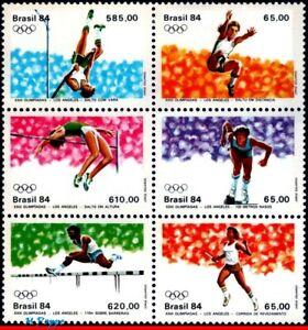 1910A BRAZIL 1984 SUMMER OLYMPICS, LOS ANGELES, ATHLETICS, RHM C1378-83, SET MNH