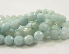 8 mm Faceted Round Amazonite Semi Precious Stone Beads,Ocean Blue Gemstone(#480)