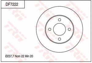 TRW Brake Rotor Front DF7222S fits Nissan Micra 1.2 (K13), 1.4 16V (K12), 1.5...