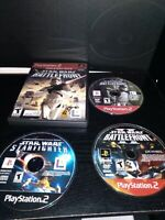 Star Wars Battlefront 1 I & 2 II & Starfighter Sony Playstation 2 PS2 3 Game Lot