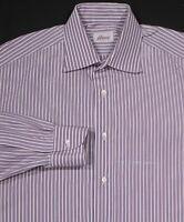 * BRIONI * Recent White w/ Blue/Red Stripes French Cuff Dress Shirt (42) 16.5-35