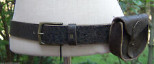 """Genuine Belstaff Weathered Aged Leather Belt With Removable Pouch Size 29"""" NWT"""