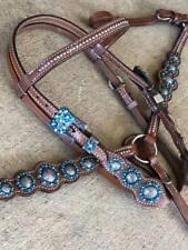 Western Pony size Horse Tack Set Bridle + Breast Collar w/ Crystal Rhinestones