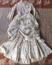 Antique Victorian Bustle Printed Dress 2 Piece White Gauze Crochet Lace 1880s