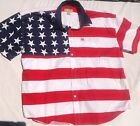 PATRIOTIC AMERICAN FLAG STARS AND STRIPES, SHORT SLEEVE, RODEO, MEN XXL, NEW