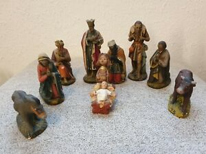 Vintage Antique 10 Piece Hand Painted Terracotta Nativity Scene Figures
