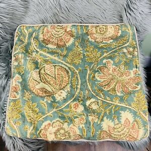 """Pottery Barn Square Pillow Case Sham Cover Green Floral Cotton 21"""" x20"""" Set Of 4"""