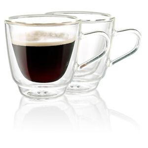Espressogläser: Doppelwandige Espresso-Tassen aus Glas, 2er-Set