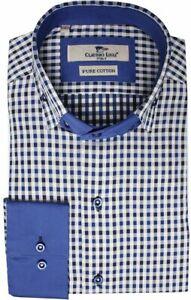 Men's Check Shirt Double Collar Long Sleeve Cotton Sizes: S, M CLAUDIO LUGLI