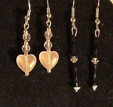 Silver Plated Pierced Earrings (#214) New Two Pair Black & Tan Beaded