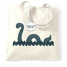 Loch Ness Monster Tote Bag Nobody Sees Me Joke Humour Nessie Myth Novelty