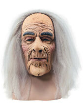Creepy Old Man Grandpa Halloween Rubber Overhead Mask With Attached Fancy Dress