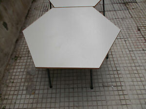 2 pezzi Banco banchetto esagonale asilo scuola ludoteca legno e ferro