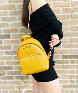 Michael Kors Small Erin Convertible Backpack Fannyback Marigold Pebbled Leather