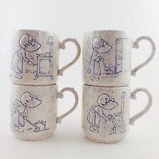 Holly Hobbie Blue Splatter Ware Coffee Mugs Set/Lot Of 4