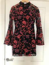 Misguided Classy Sexy Dress Evening Red Black Lace Low Back Bnwt 8 Sold out!