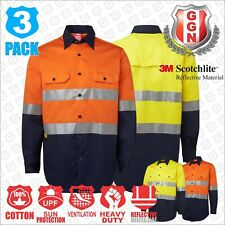 3x HI VIS Shirts COTTON DRILL SAFETY WORK 3M REFLECTIVE LONG SLEEVE VENTILATED