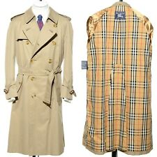 30f305d1dc3 Vtg BURBERRY Classic Double Breasted Below-Knee Trench Coat Raincoat 40S  Short M