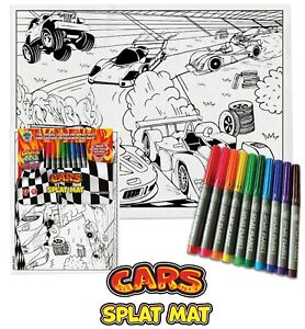 Splat Planet Colour-in Cars Placemat 10 Magic Pens-Colour-in and Wash Out