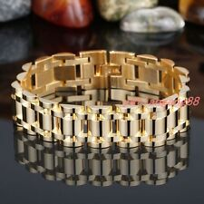 """Men's Cool Stainless Steel Gold Cuban Curb Link Chain Bracelet 17mm8.66"""" Fashion"""