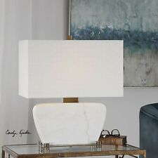 """Modern Gallery Decor 22"""" Aged Brass Metal White Stone Marble Genessy Table Lamp"""