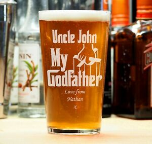 Personalised Engraved Beer Pint Glass Godfather Christening Birthday Gift