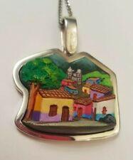 Ceramic Town Pendant Toztli Mexico Sterling Silver