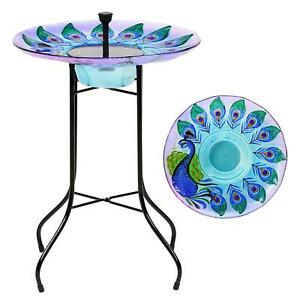 Solar Powered Led Peacock Glass Garden Pond Bird Bath Water Fountain Feature
