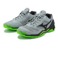 Mizuno Mens Wave Stealth V Indoor Court Shoes Green Grey Sports Squash Badminton