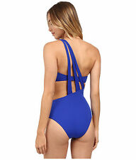 NWT $147 SAHA Freya One Shoulder Back Strapped Trikini Swimsuit S