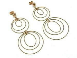 "Italian 14k Rose Gold Round Drop Dangle Earrings 2.5"" 3.9 grams"