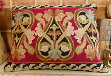 "20"" Vintage Handmade Decorative Scroll Beautiful Needlepoint Pillow Cushion"