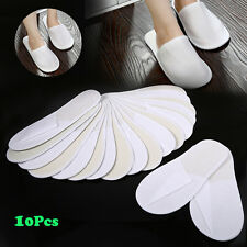 10 Pairs White Towelling Closed Toe Hotel Guest Slippers Spa Shoes Disposable HG