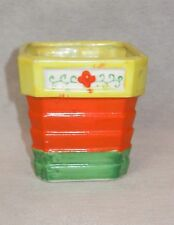 Vintage Made In Japan Colorful Flower Pot Squared Rings Yellow Orange Green