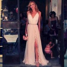 Custom V-neck Chiffon Beach Bridal Gown Wedding Dress 6-8-10-12-14-16-18-20++