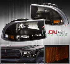 1997-2004 Dodge Dakota 1998-2004 Durango 1Pc Black Headlights Amber Reflectors