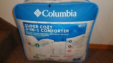 Columbia Super Cozy 3 in 1 Comforter w Zip Off Weighted Layers Twin White New