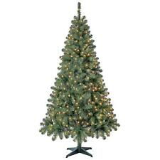 6.5 FT Artificial Christmas Tree Xmas Fake Pine Pre Lit 300 Lights Stand Green
