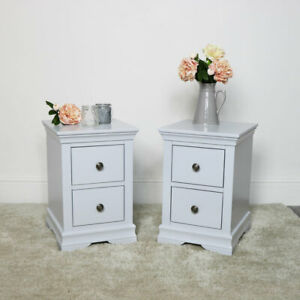 Pair of Slim Bedside Tables Newbury Grey Range bedroom furniture storage