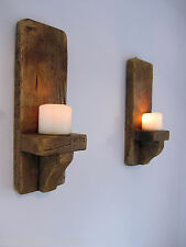 PAIR OF 40CM SOLID PLANK WOOD RUSTIC WALL SCONCE LED CANDLE HOLDERS