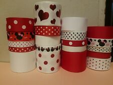 """GROSGRAIN RIBBON SET """" MINNIE HEARTS """" 20 YDS ..CRAFTS.. HAIRBOWS AND MORE"""
