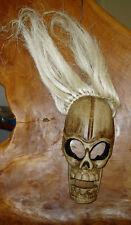 Wooden skull mask, white hair, 27 cm high Fair Trade hand-carved in Bali, new