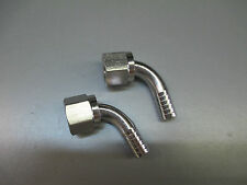 "(2) 3/8"" BARB x 3/8"" SWIVEL ELBOW. STAINLESS  FITTINGS"