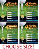 NEW! 4 X Four Pack 4 Yards More Golf Tees (16 Total) Hit Longer Drives Gift
