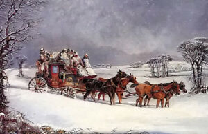 """Oil henry alken - the york to london royal mail on the open road in winter 36"""""""