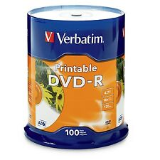 ($0 P&H) Verbatim DVD-R 4.7GB White InkJet 100PK Spindle PN:95153