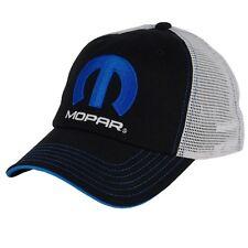 Mopar Blue M Cotton, Polyester, Black, White Mesh Hat Embroidered, Licensed